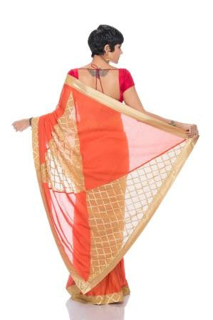 Peach Saree with Beige Geometric Pallu
