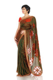 Two toned saree with cut work logo