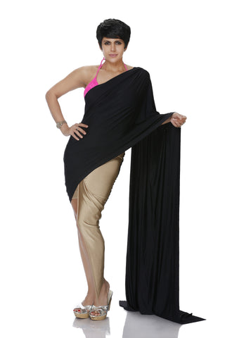 GOLD HIGH-LOW LYCRA SAREE WITH BLACK PALLU