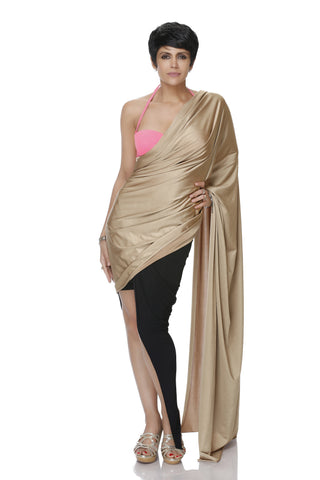 GOLD AND BLACK HIGH-LOW LYCRA SAREE