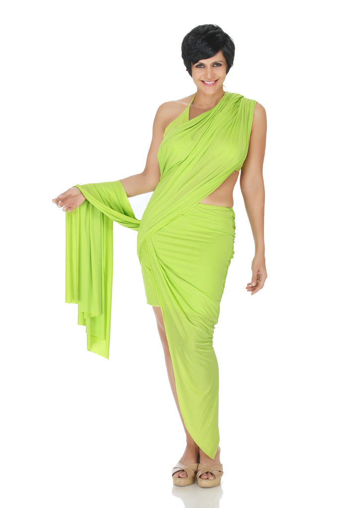 Green Mini Lycra Saree with a high low Skirt