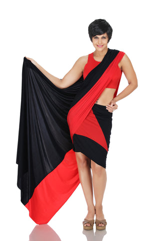 Red and Black Mini Lycra Saree