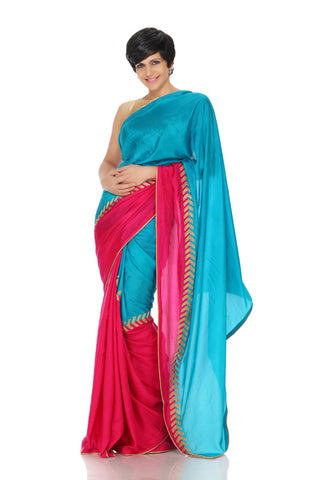 Blue and pink saree with arrow embroidery
