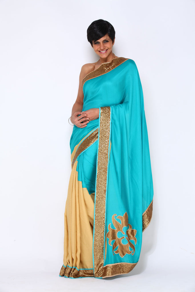 Turquoise Saree with Logo Motif on Pallu