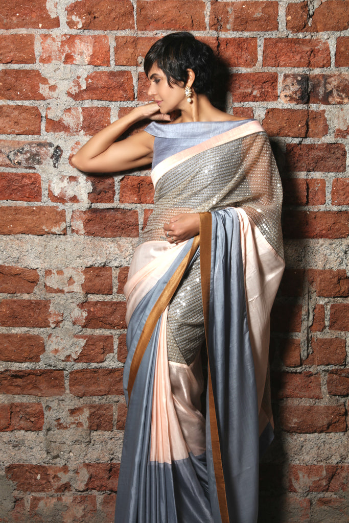 Light Pink & Grey Satin Sari