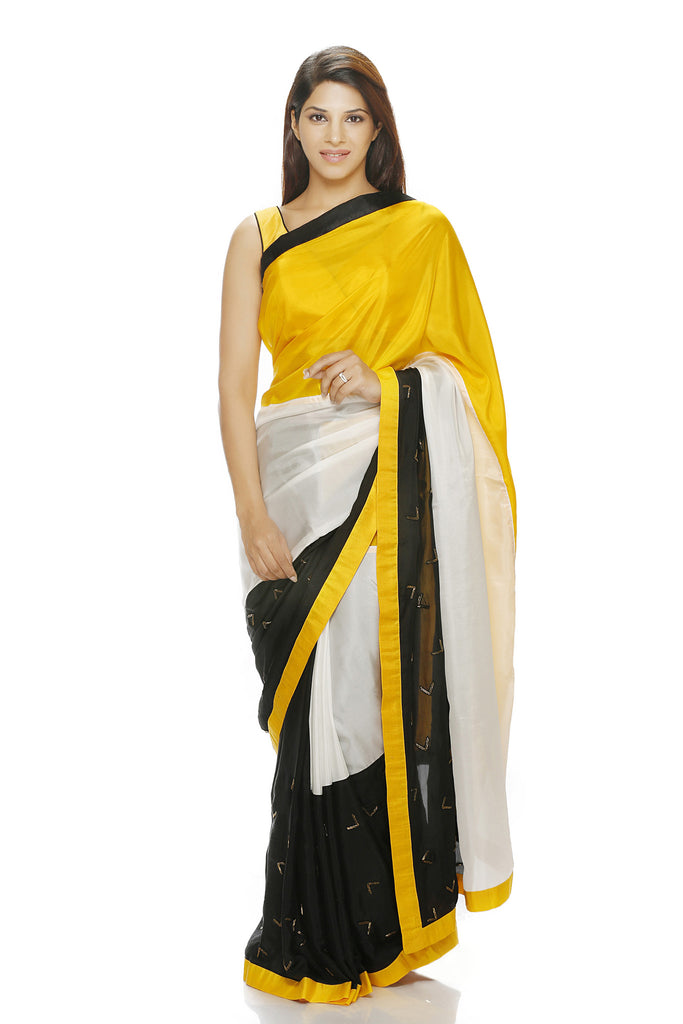 Yellow, white and black saree with hand embroidery