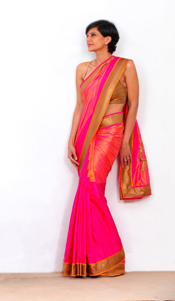 Pink and orange Silk saree with Geometric pleats