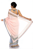 Light Pink & Grey Sequins Sari