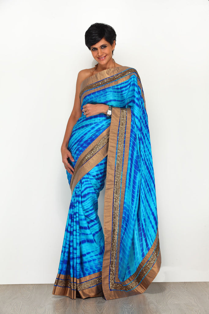 Blue Tie and Dye Saree with Antique Border