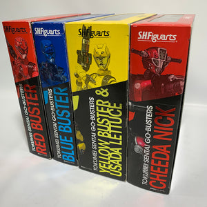 [BOXED] Tokumei Sentai Go-Busters: S.H.Figuarts Red Buster, Chieda Nick, Blue Buster, Yellow Buster & Usada Lettuce Set