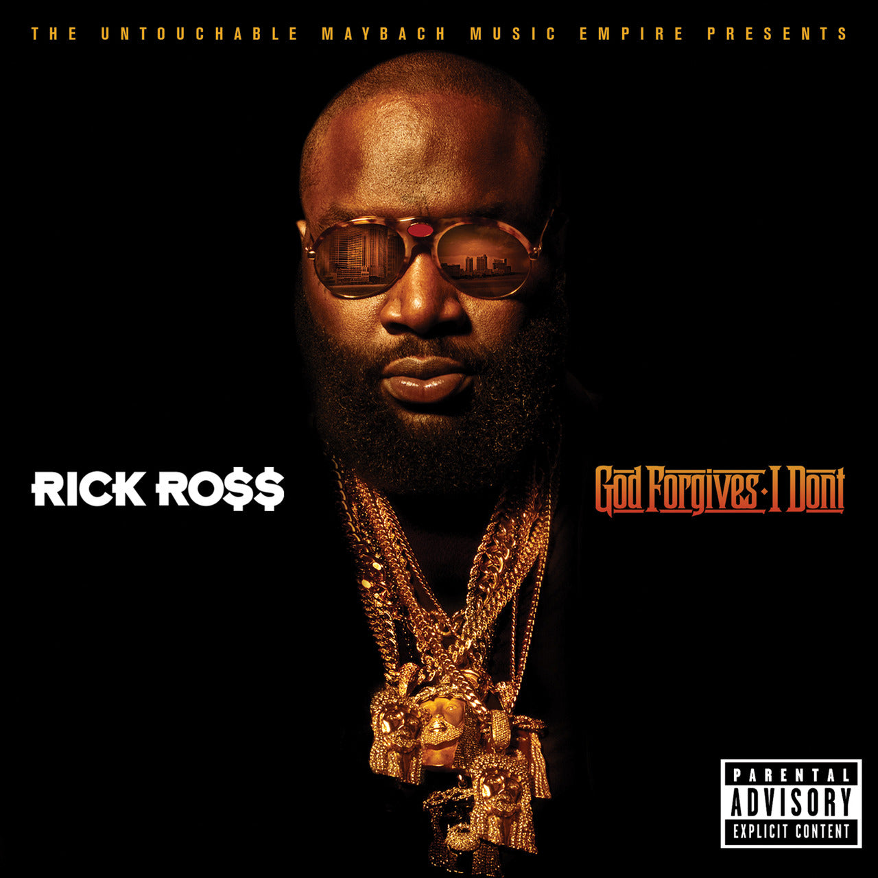 Gold Jesus Piece Necklaces worn by Rick Ross on his album Cover
