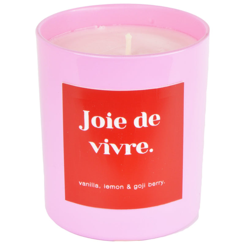 Vanilla, Lemon & Goji Berry Joie de Vivre Pink & Red Engraved Candle