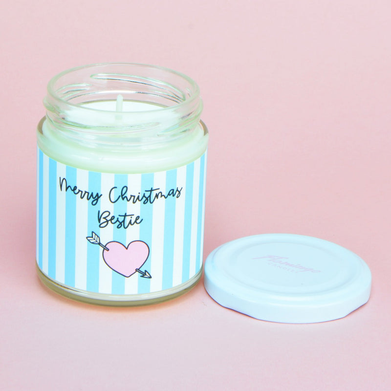 Frosted Candy Apple Merry Christmas Bestie Candy Stripe Heart Candle
