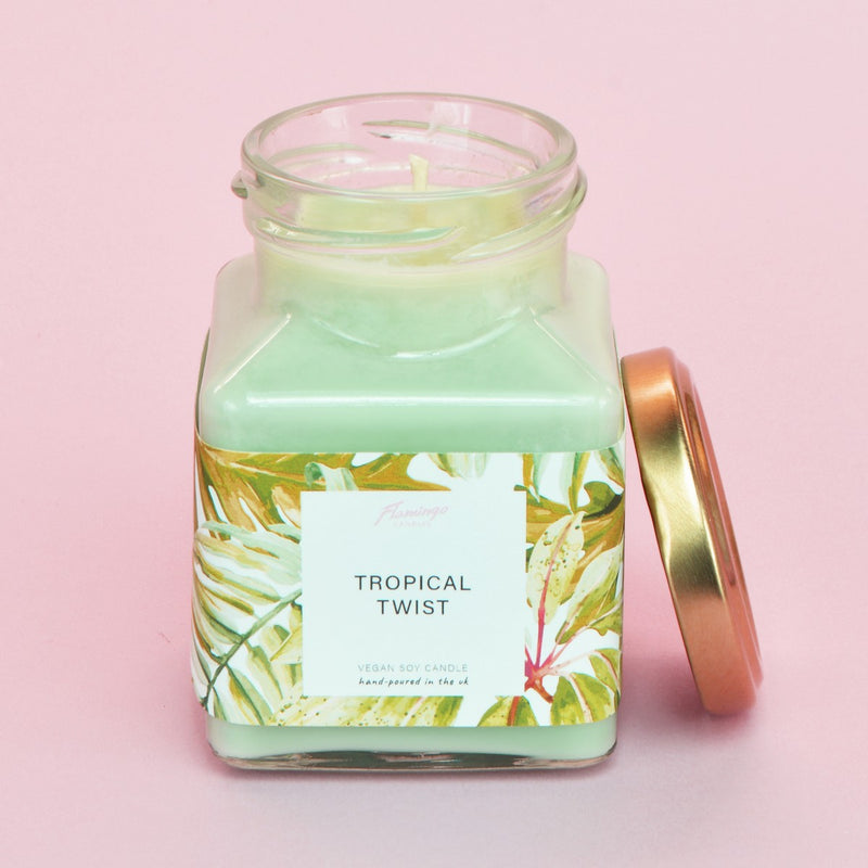 Tropical Twist Green Leaf Print Midi Square Candle