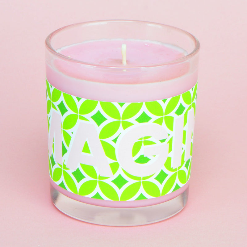 Pineapple & Lime Pink & Green IMAGINE Retro Print Candle