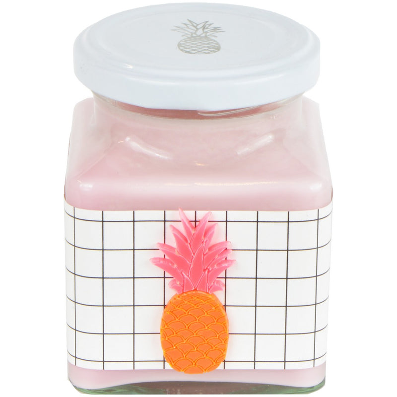 Pineapple & Raspberry Grid Neon Pineapple Jar Candle