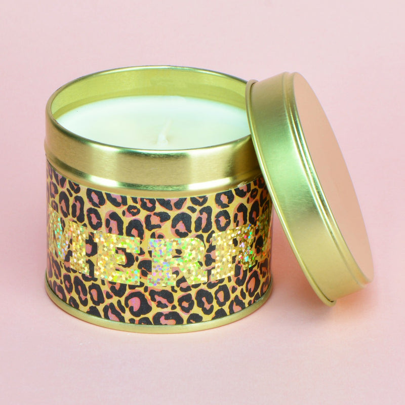 Mulled Wine & Berries Leopard Print Gold Holo MERRY Tin Candle