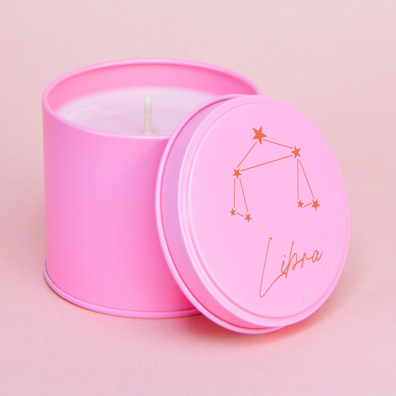 Cranberry & Pomegranate Personalised Pink & Red Zodiac Constellation Tin Candle