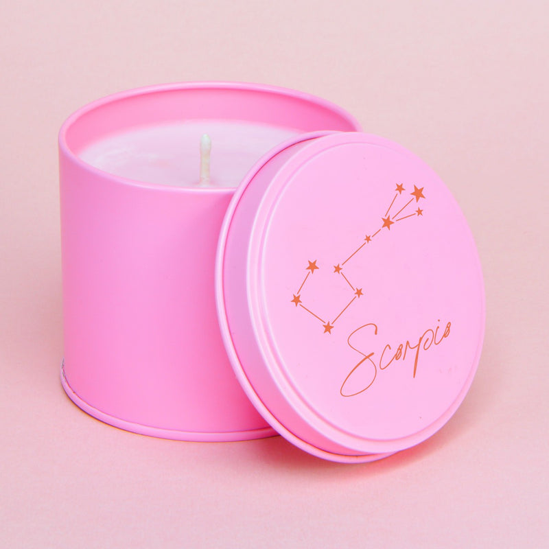 Plum Blossom Personalised Pink & Red Zodiac Constellation Tin Candle