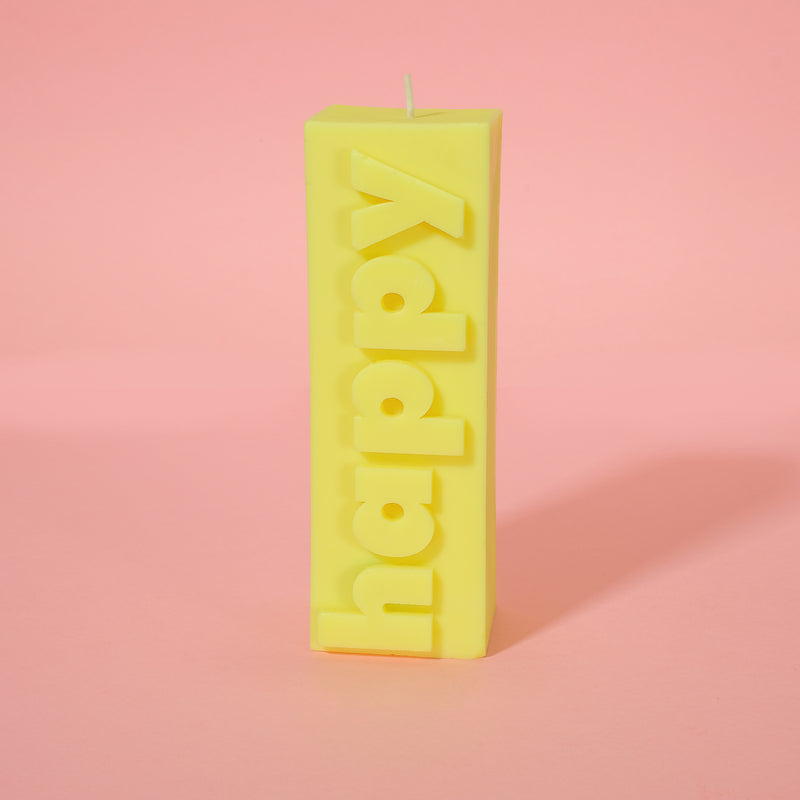 HAPPY Slogan Block Pillar Candle