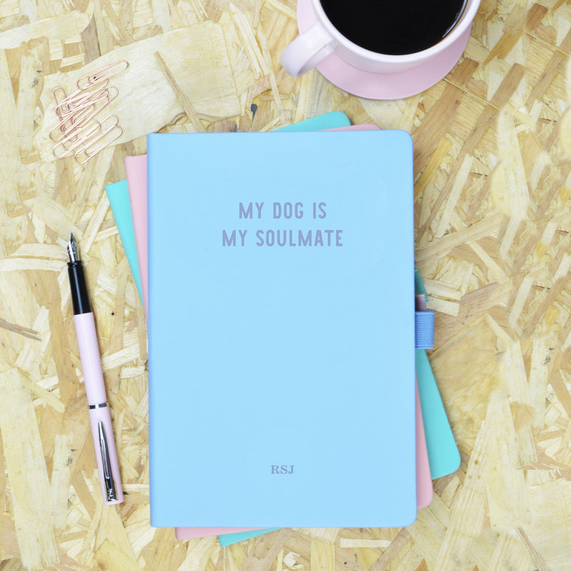 My Dog is My Soulmate Blue & Purple Personalised Notebook