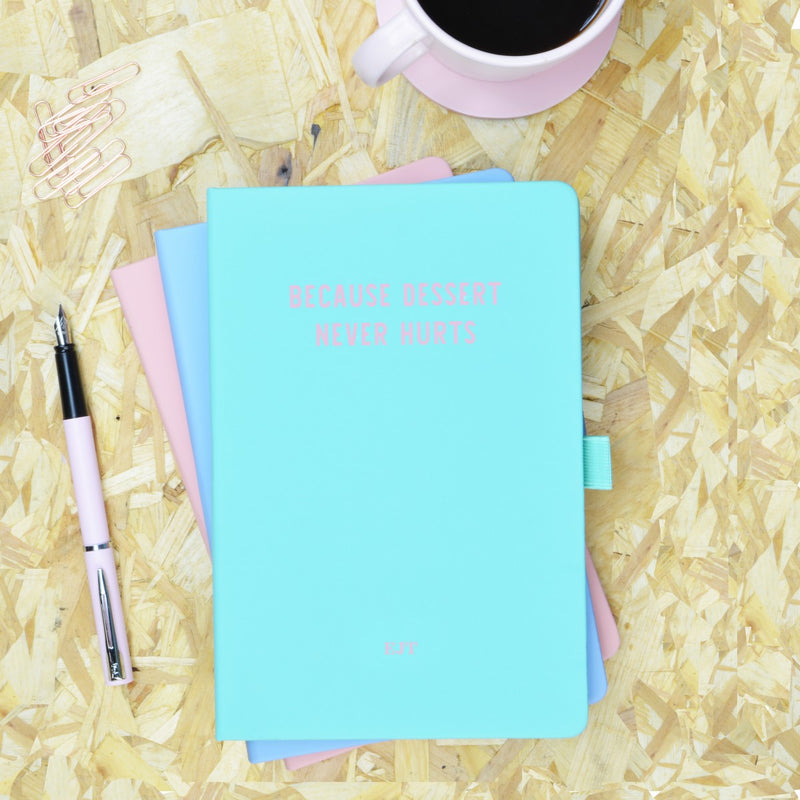 Because Dessert Never Hurts Green & Pink Personalised Notebook