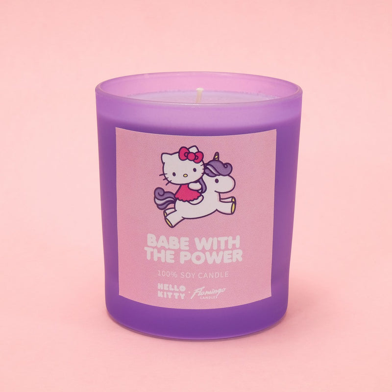 Hello Kitty x Flamingo Candles Apple Pie Babe with the Power Purple Frosted Jar Candle
