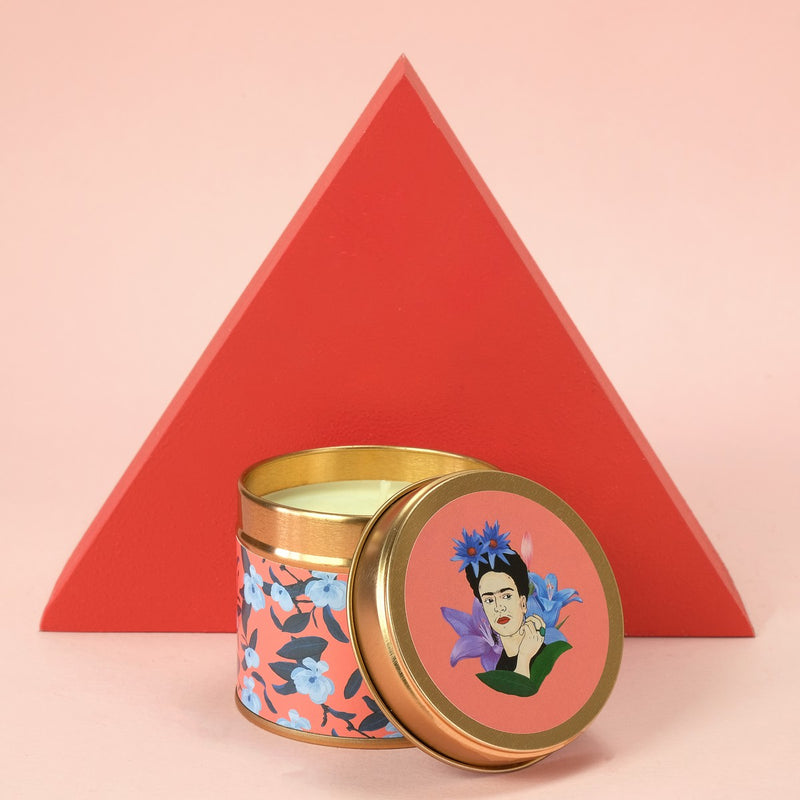 Frida Kahlo x Flamingo Candles Raspberry Granita & Frangipani Floral Print Tin Candle