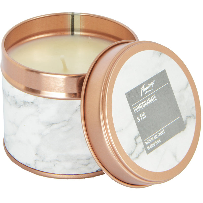 Pomegranate & Fig Marble Rose Gold Tin Candle