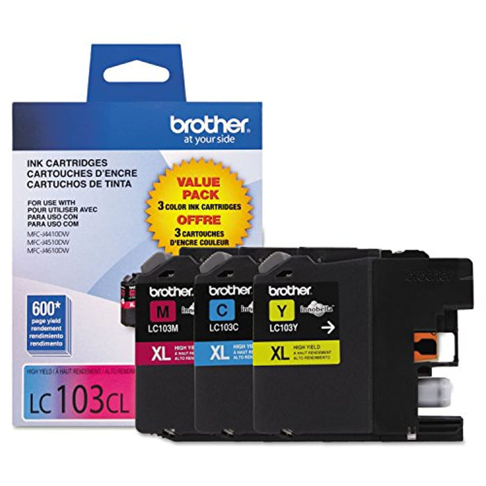 Brother Genuine High Yield Color Ink Cartridge, 3 Pack of LC103 , Replacement Color Ink Three Pack, Includes 1 Cartridge Each of Cyan, Magenta & Yellow, Page Yield Upto 600 Pages/Cartridge, LC103-Back to results-Digital Supply USA-Digital Supply USA