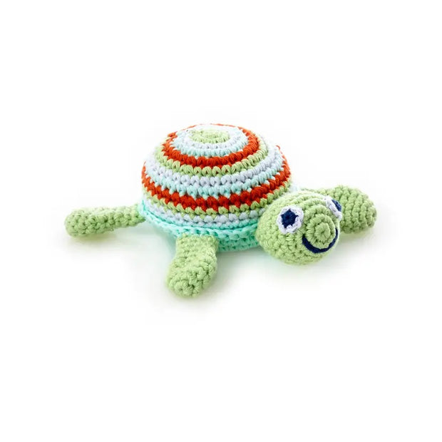 Smiling Crochet Turtle Baby Rattle