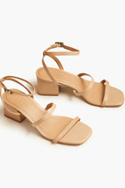 The Scilia Block Heel leather sandal in sand.