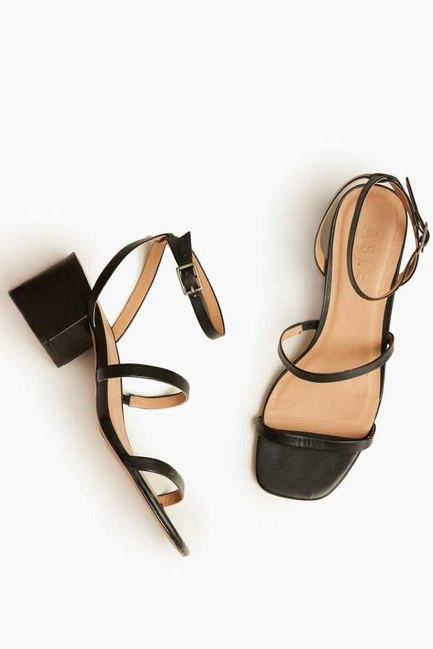 The Scilia Block Heel leather sandal in black.
