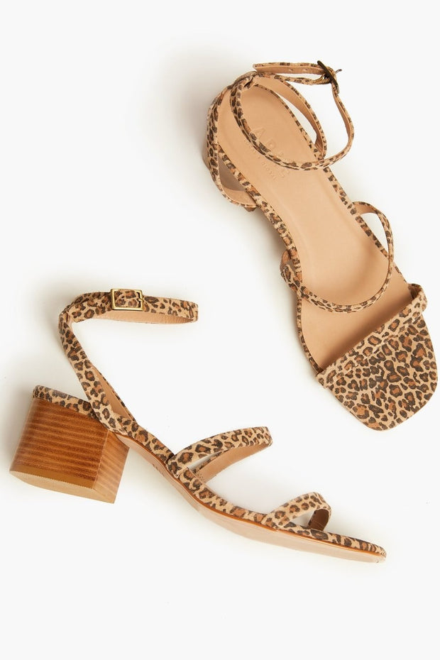 The Scilia Block Heel leather sandal in leopard.