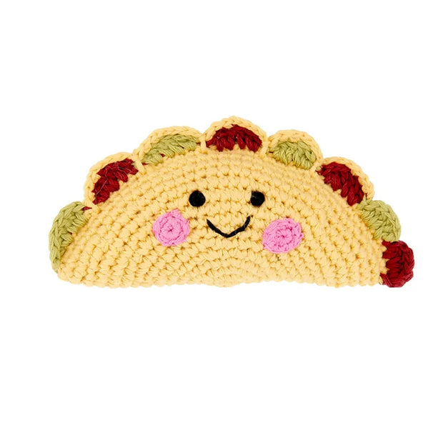 Smiling crochet taco baby rattle