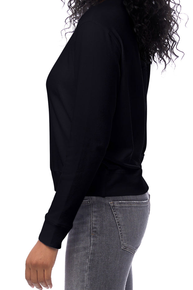 Interlock cotton and tencel pullover in black. Shop alternative apparel ethical fashion at Sophie Stargazer