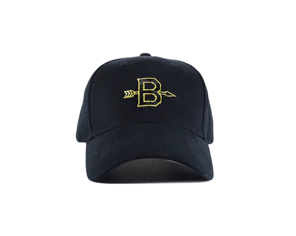 B Arrow (Black/Gold) Strapback - brimzofficial Dad Hat