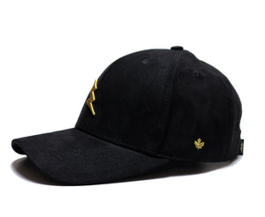 Flash Power Dad Hat SUEDE (Black/Gold) - Brimz Official