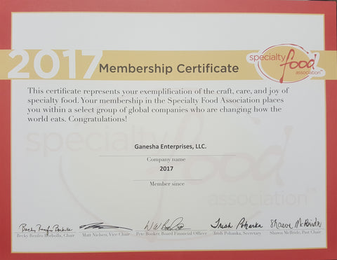 2017 Specialty Food Association Certificate