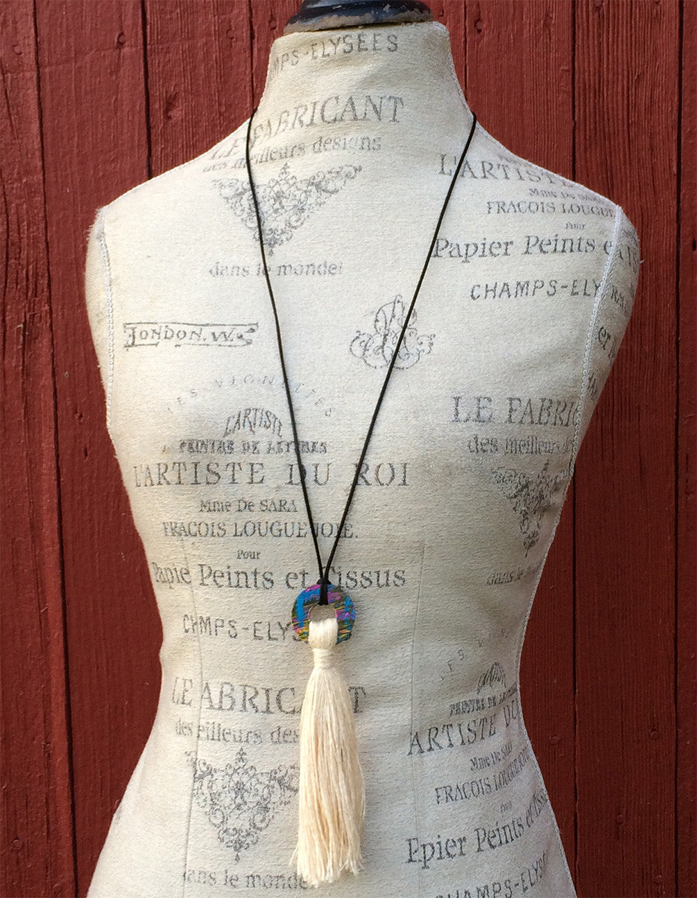 One-of-a-Kind Hand Painted Fiber Necklace