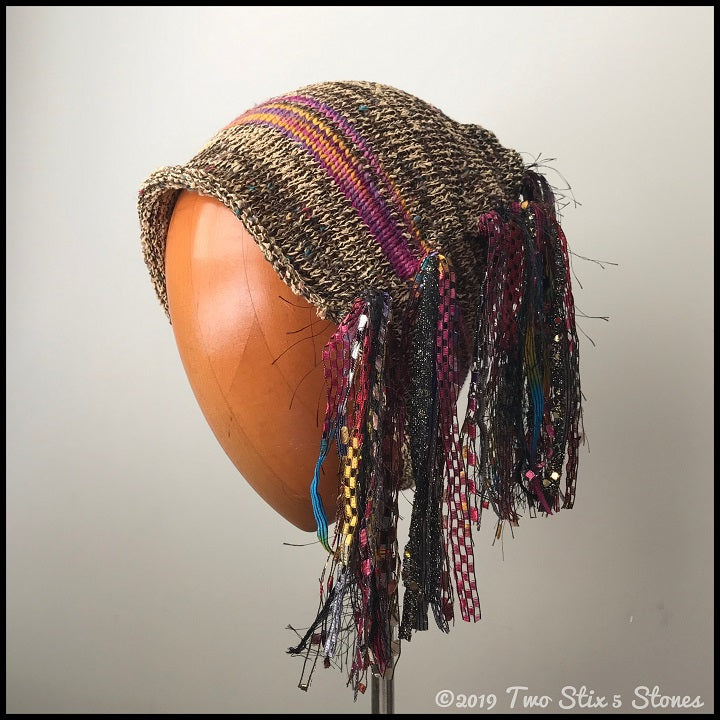 "Gold Tweed w/Stripe Signature ""Funky Chic Hat"""