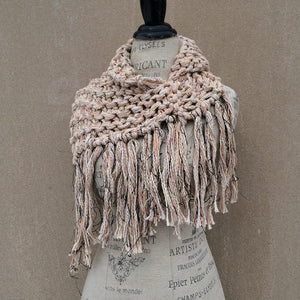Oatmeal Tweed Shawl w/Fringe