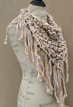 Oatmeal Tweed Triangle Scarf