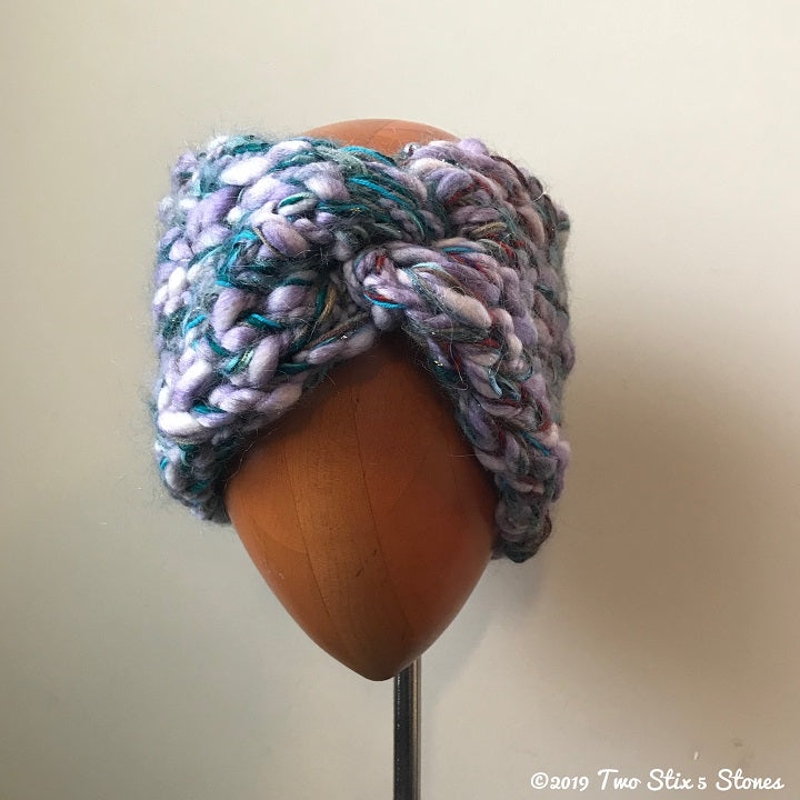 Extra Wide Lavender & Blue Tweed Luxe Headband Turban