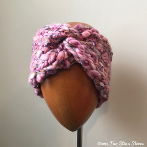 Pink & Lavender Tweed Turban Headband
