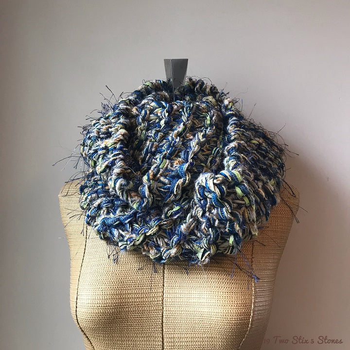 Luxe Green & Blue Tweed Infinity Scarf