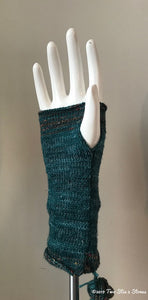Blue Tweed Fingerless Gloves