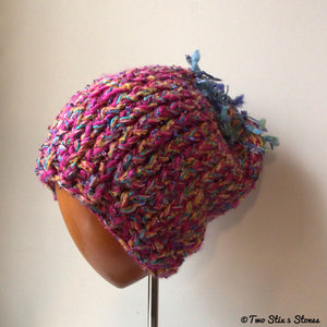 Luxe Funky Pink Tweed Slouchy Hat