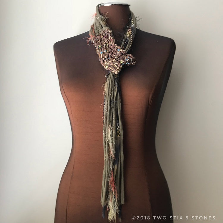 Brown & Green Toned Adjustable Scarf