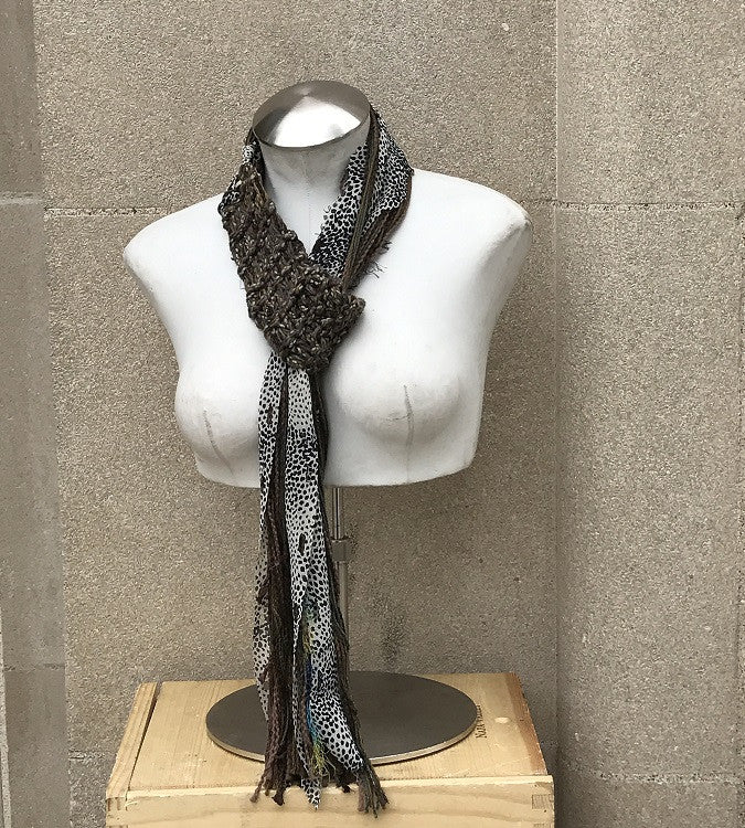 Brown Tweed Adjustable Scarf w/Zebra Accent